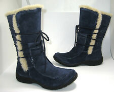 New $110 Earth Origins Danielle size 7 Navy Blue Suede Faux Fur Winter Boots