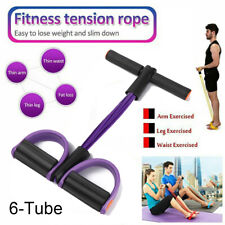 6-Tube Multi-Function Tension Rope Fitness Pedal Exerciser Rope Pull Bands US~