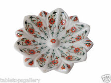 White Marble Fruit Bowl Real Carnelian Marquetry Floral Dining Room Deco H1332