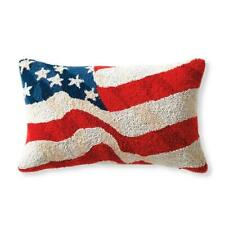 NWT GRANDINROAD/FRONTGATE HAND HOOKED AMERICAN FLAG PATRIOTIC PILLOW