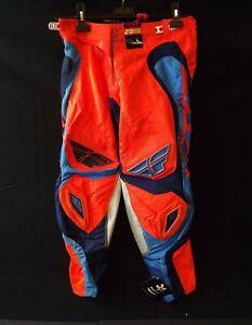 NEW FLY RACING EVOLUTION Motocross BMX Race Pants Orange & Blue MEN'S Size 28