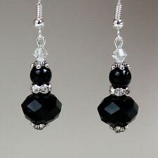 Black pearls crystals vintage silver drop dangle wedding bridesmaid earrings
