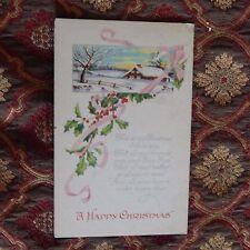 Vintage Postcard A Happy Christmas Poem, Winter House Scene, Holly