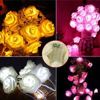Top Fashion 20 LED Rose Flower Fairy Wedding Party Christmas Decor Xmas Lights