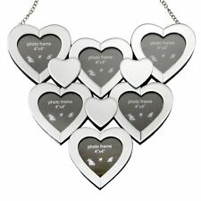 Multi Picture Love Heart Mirrored Glass Photo Frame Collage With Hanging Chain
