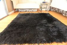 "48"" x 60"" Black Mongolian Faux Fur Area Rug Fur Rectangle Sheepskin Plush"