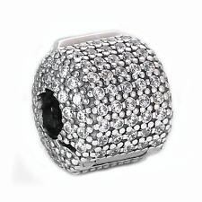 Sparkling Pave Barrel Spacer Clip Charm Bead S925 Silver Sterling VALENTINE GIFT