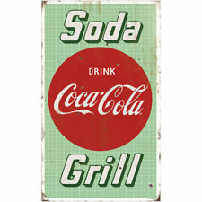 Coca-Cola Soda Grill Diner Wall Decal 14 x 24 Distressed Vintage Style Kitchen