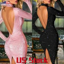 Women Sexy Glitter Backless Dress Bodycon Party Club Cocktail Long Sleeve Dress