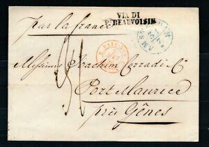BLAUW AMSTERDAM 3/7(1839) OP OMSLAG - PORT MAURICE (BIJ GENUA), GRENSST. ZL805