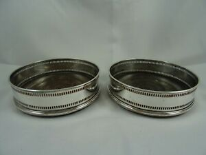 VINTAGE pair `OLD SHEFFIELD PLATE` WINE COASTERS, c1790