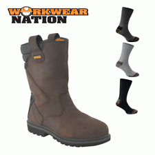 Dewalt Rigger 2 Leather Workwear Dealer Shoe Boot Steel Toe Cap Brown FREE SOCKS
