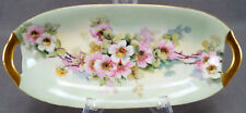 Krister KPM Hand Painted Signed Hoffman Pink & White Wild Rose Relish Dish
