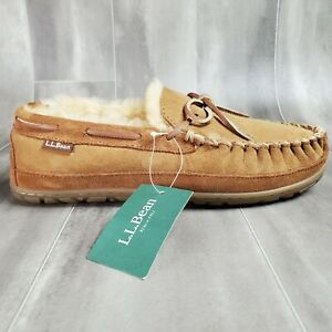 LL Bean Women's  Moccasin Slippers Tan Shearling Lined Size 10 M
