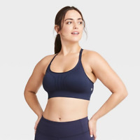 ALL IN MOTION WOMEN'S LOW SUPPORT LASER CUT SEAMLESS SPORTS BRA S NAVY-D92 NEW