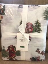 POTTERY BARN Nostalgic Santa Queen Size Organic Cotton Sheet Set Christmas NWT