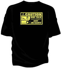 'Caution' classic car t-shirt - 'May Talk Endlessly About.....Ford Escort Mk2