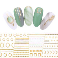 Gold 3D Nail Art Stickers Adhesive Geometric Mixed Design Decals Nail Tips Decor