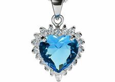 2CT Blue Topaz Diamond Heart LOVE 925 Sterling Silver Necklace gift 18 chain#071