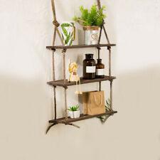Wooden Hanging Shelf Swing Floating Shelves Rope Wall Display Rack Home Decor US