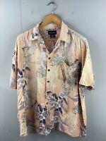 Expressions Mens Vintage Short Sleeve Floral Hawaiian Shirt Size XL Pink