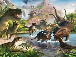 Dinosaurs Jungle River Park 3D Wall Sticker Poster Decal Mural Bedroom Art 989