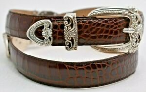 Women's Brighton Brown Leather Belt Silver Hardware Croc Embossed Medium