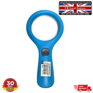 Blue Reading 3 Light Magnifying glass small 2X Magnifier Glass Set Lens Handheld