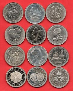 12 X DIFFERENT ISLE OF MAN CROWN COINS, VARIOUS DATES. 1977 - 1984. JOB LOT.