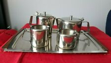 More details for vintage retro danish stainless steel tray with 4 piece tea set (unused)