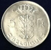 Vintage 1976 Belgium Baudouin I French Text 5 Franc Coin