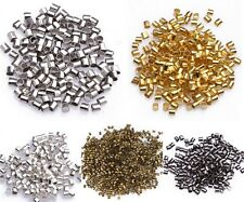 1.5mm 2mm DIY Silver & Gold plated Tube Crimp End Spacer Beads Jewelry Making