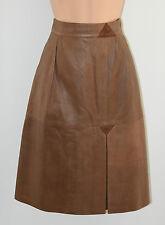 "Vintage Brown Leather Pockets High Waist A-Line Knee Length Skirt Size W27"" L24"""