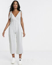 ASOS DESIGN tie strap chuck on jumpsuit in white stripe print Size 6 New RRP £28