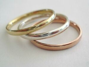 Comfort Fit 10 K.&14 K. Solid Gold 2 MM. Band or Stacking Ring Handmade in U.S.