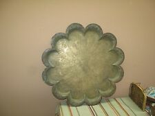 "Antique India Copper Brass Tray Etched Figural Wall Plate 19"" scalloped edge"