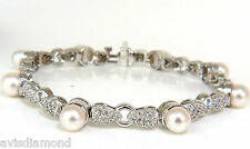 $7000 2.70CT DIAMONDS & 6.5MM LUSTER AKOYA PEARL PETAL LINK TENNIS BRACELET 14KT