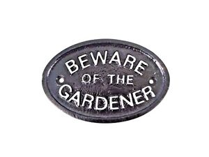 SILVER BEWARE OF THE GARDENER SHED/GARAGE/GARDEN WALL SIGN/PLAQUE  - BRAND NEW