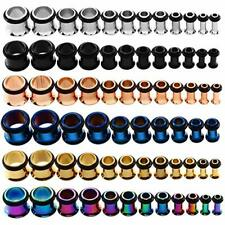 Stainless Steel Single Flare Ear Tunnels O-RING Stretchers Tapers Plug 3-14mm