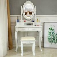 Vanity Table Set with Lighted Mirror Makeup Dressing Table with Light Led Mirror
