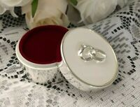 WEDDING RING BOX ROUND SILVER LINKED RINGS JEWELLERY TRINKET PROPOSAL engagement