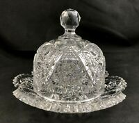 🟩 Antique ABP Brilliant Cut Glass Covered Butter Dish