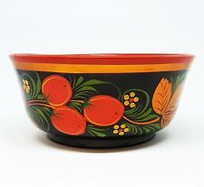 1970s Ussr Khokhloma Vintage Russian Wooden Bowl Cup Hand painted