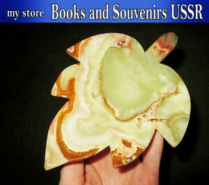 Onyx stone ashtray - business card holder in the form of a maple leaf, USSR
