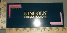1989 Lincoln Paint Chip Exterior Colors Mark VII Continental Town Car Brochure
