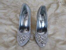 Silver Dimonte Cristal Femme Chaussures Mariage fête taille 5 38 EUROS SEULEMENT porté une fois!