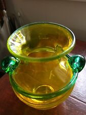 Contemporary Small Glass Vase, Iridescent Yellow with Green Handles