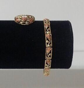 10K Yellow & Rose Gold Rose Diamond-Cut Bracelet & Ring
