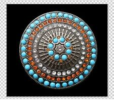 MULTI COLOR RHINESTONES STONE AZTEC COOL WESTERN BELT BUCKLE BOUCLE DE CEINTURE