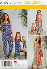 "SIMPLICITY SEWING PATTERN 8146 MISSES 6-24 GIRLS 3-8 & 18"" DOLL JUMPSUITS, DRESS"